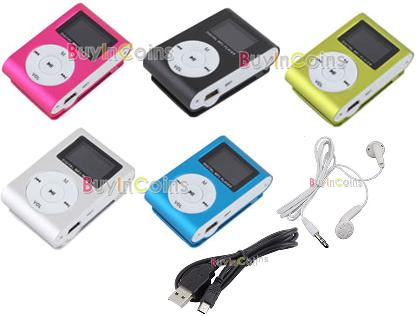 Metal Clip Digital MP3 Player FM Radio LCD Screen for 2/4/8/16GB TF Card 5 Color